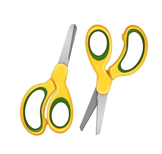 Ilustração de duas tesouras de segurança para crianças na cor amarela. isolado em fundo branco Vetor Premium
