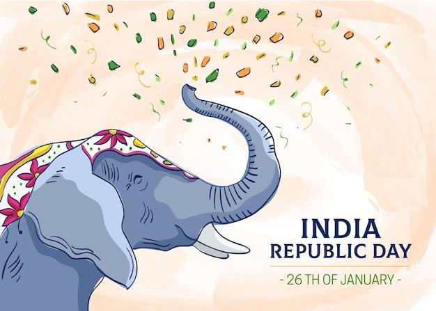 Ilustração de elefante do dia da república desenhada à mão Vetor Premium