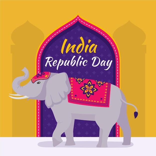 Ilustração de elefante do dia da república plana Vetor Premium