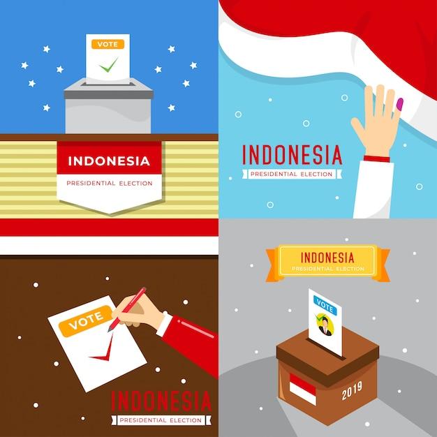 Ilustração de eleição do presidente da indonésia Vetor Premium