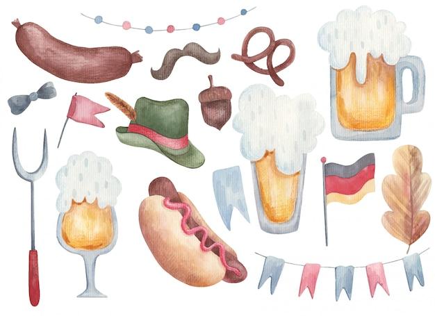 Ilustração de elementos aquarela oktoberfest, oktoberfest clipart bar menu bebidas e lanches ilustração Vetor Premium