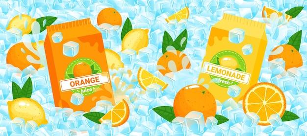 Ilustração de embalagem de suco de frutas cítricas. Vetor Premium