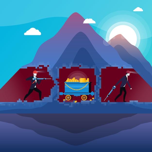 Ilustração de empresários nos meus com ouro Vetor Premium