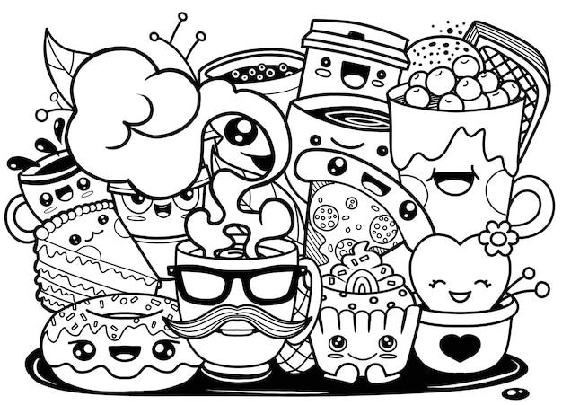Ilustração, de, engraçado, caricatura, doodle, xícara café Vetor Premium