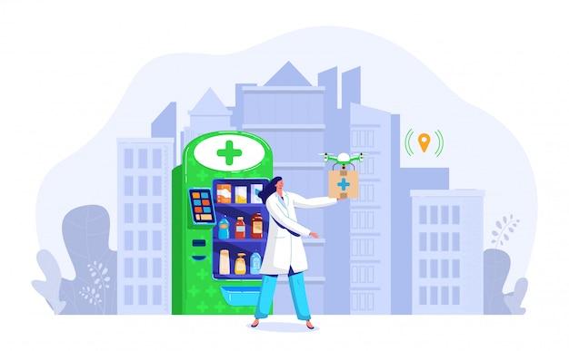 Ilustração de entrega de drogas drone, personagem de desenho animado médico plana médico segurando o drone, caixa de transporte rápido por ar isolado no branco Vetor Premium