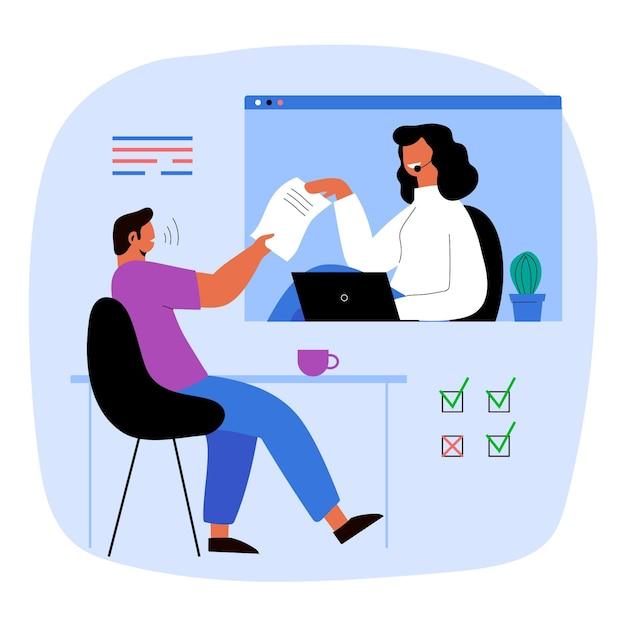 Ilustração de entrevista de emprego online Vetor grátis