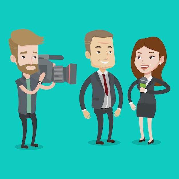 Ilustração de entrevista de tv. Vetor Premium