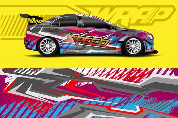 Ilustração de envoltório de adesivo de carro Vetor Premium