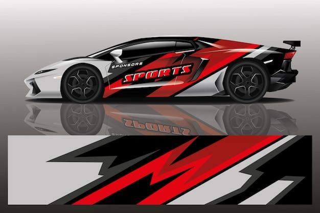 Ilustração de envoltório de decalque de carro esporte Vetor Premium