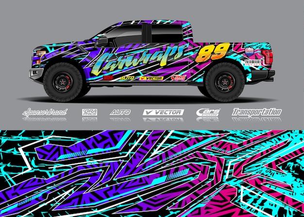 Ilustração de envoltório de veículo de aventura Vetor Premium