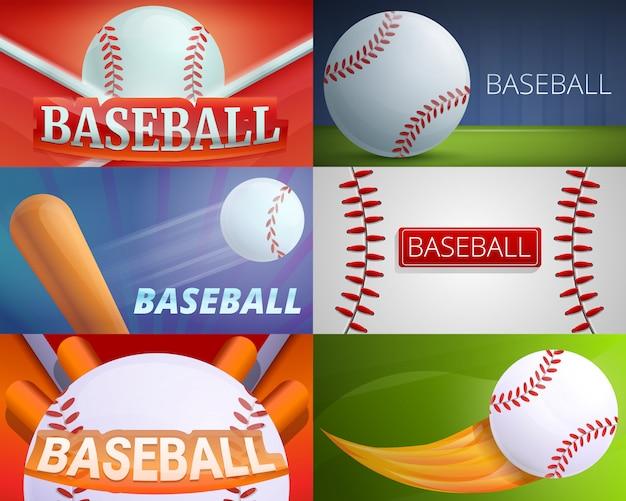 Ilustração de equipamento de beisebol no estilo cartoon Vetor Premium