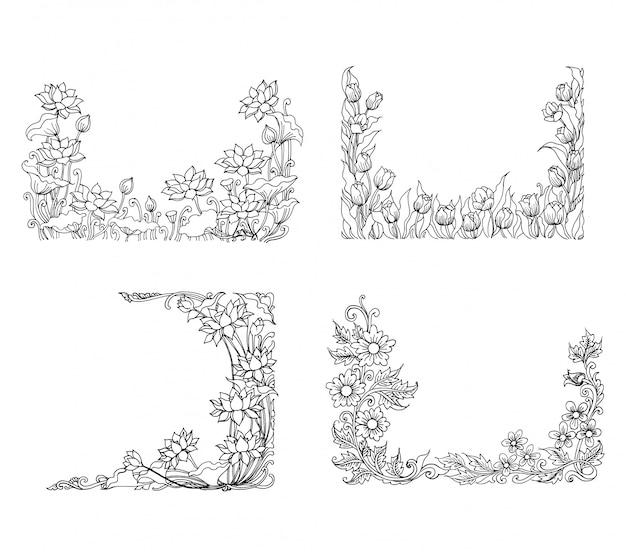 Ilustração de esboço floral decorativo Vetor Premium