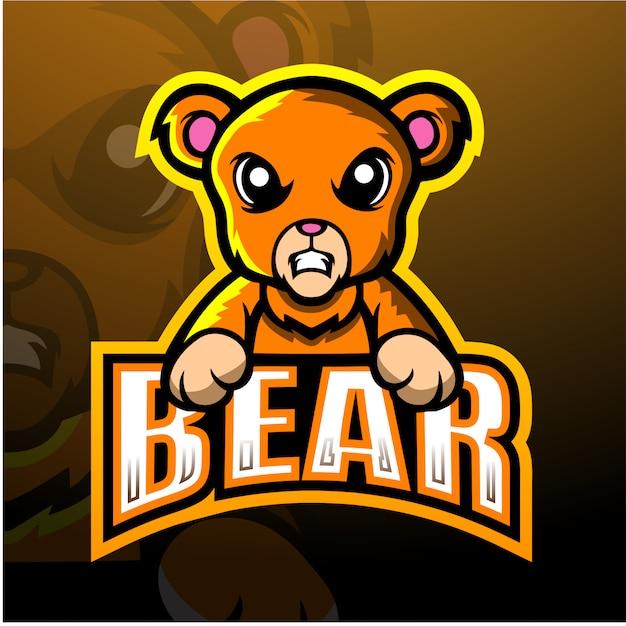 Ilustração de esporte de mascote de urso Vetor Premium