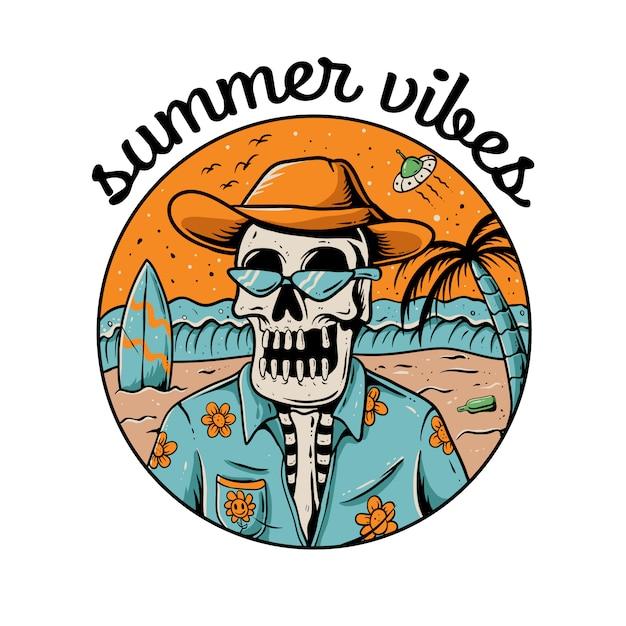 Ilustração de esqueleto de vibrações de verão. crânio, vestindo camisa havaiana Vetor Premium