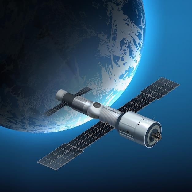 Ilustração de estação espacial internacional orbitando sobre a terra Vetor Premium