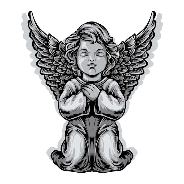 Ilustração de estátua de anjo bebê Vetor Premium