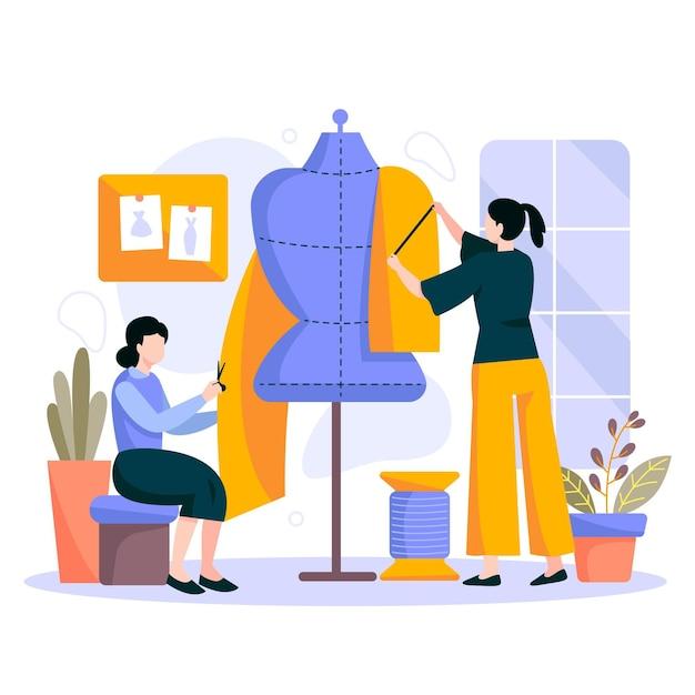Ilustração de estilista desenhada à mão plana Vetor Premium