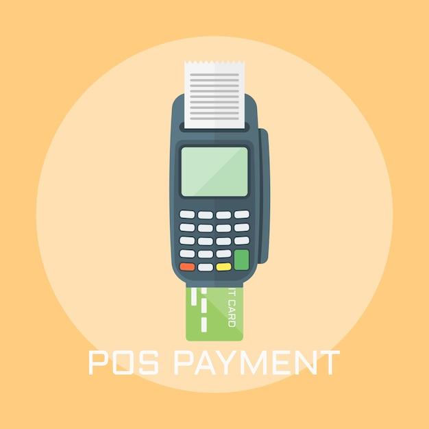 Ilustração de estilo de design plano de pagamento pos Vetor Premium