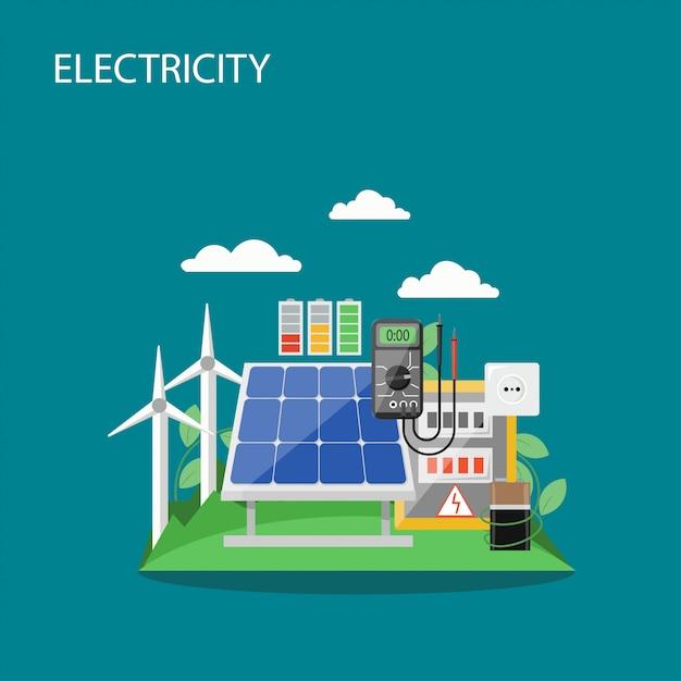 Ilustração de estilo plano de conceito de eletricidade Vetor Premium
