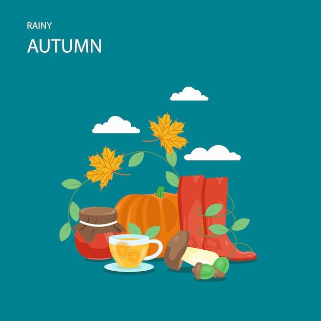 Ilustração de estilo simples outono chuvoso Vetor Premium