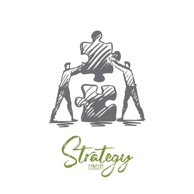 Ilustração de estratégia desenhada à mão Vetor Premium