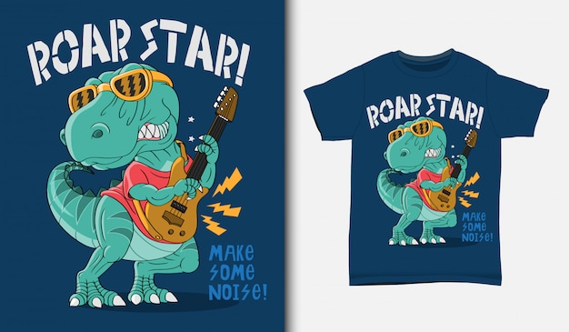 Ilustração de estrela do rock legal dinossauro com design de t-shirt, mão desenhada Vetor Premium