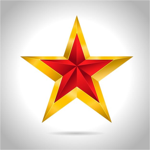 Ilustração de estrela vermelha ouro ícone de símbolo de arte 3d Vetor Premium