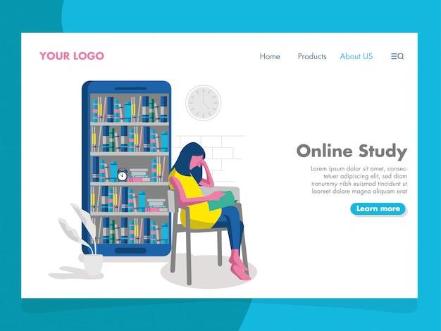 Ilustração de estudo on-line para a página de destino Vetor Premium
