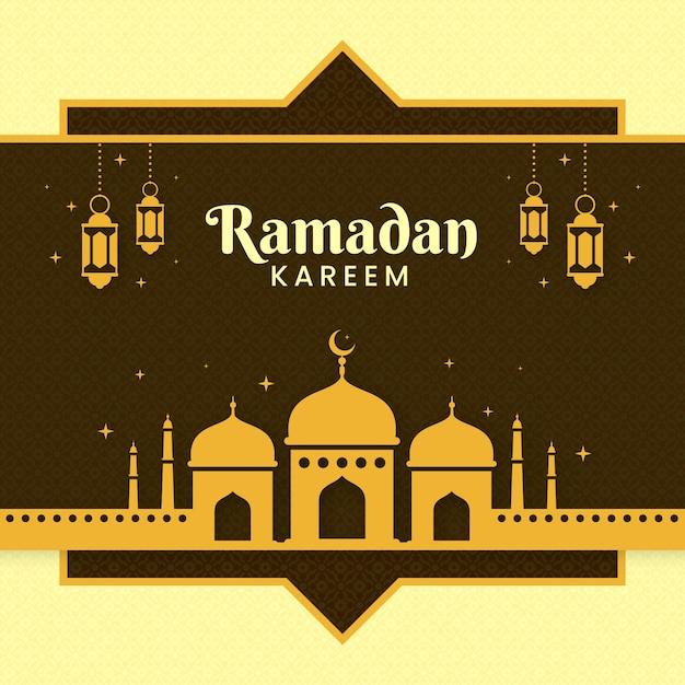 Ilustração de evento ramadan design plano com mesquita Vetor grátis