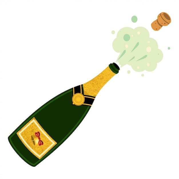 Ilustração de explosão de garrafa de champanhe no fundo branco Vetor Premium