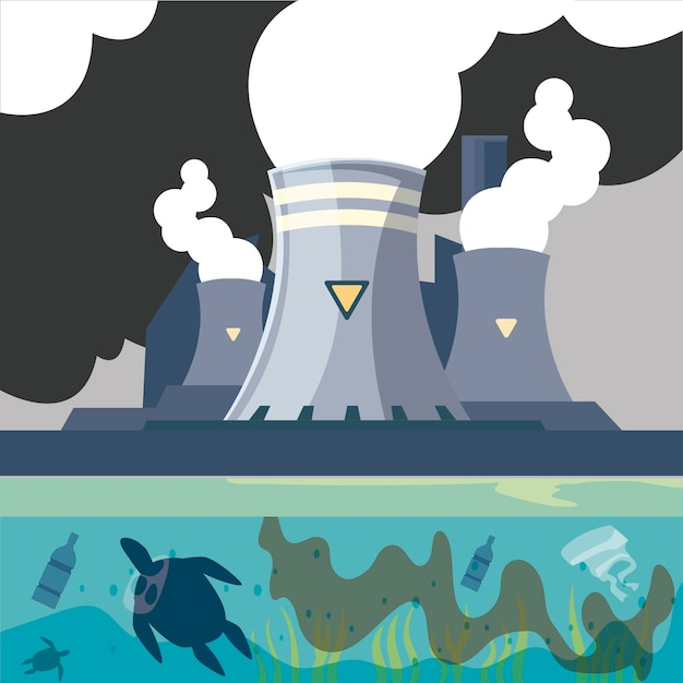 Ilustração de fábrica poluente com chaminé de vapor e drenagem de tubulação de água Vetor Premium