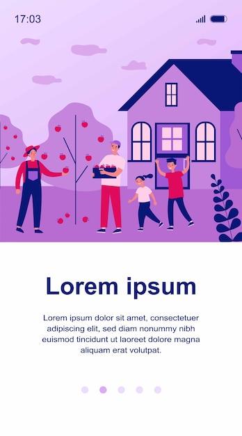 Ilustração de família feliz colhendo maçãs Vetor Premium