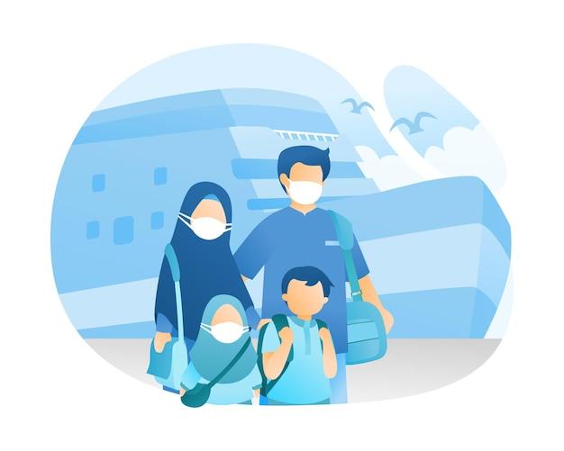 Ilustração de famílias muçulmanas viajando de navio de cruzeiro Vetor Premium