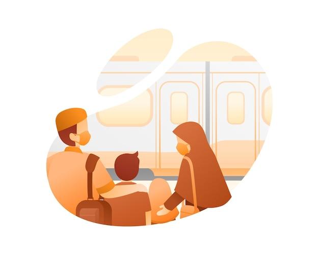 Ilustração de famílias muçulmanas viajando de trem Vetor Premium