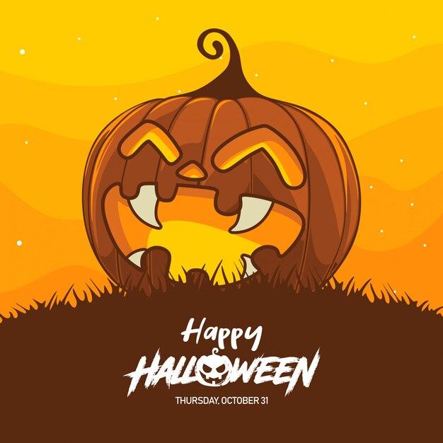 Ilustração de fantasia de abóbora de halloween Vetor Premium