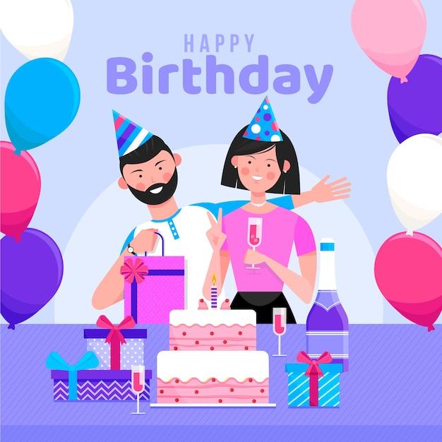 Ilustração de feliz aniversário com casal Vetor grátis