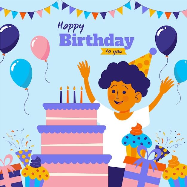 Ilustração de feliz aniversário com menino e bolo Vetor Premium