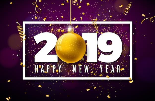 Ilustração de feliz ano novo de 2019 com letras de tipografia Vetor Premium