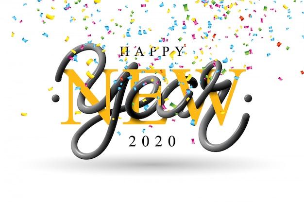 Ilustração de feliz ano novo de 2020 com letras de tipografia 3d e confetes caindo no fundo branco Vetor grátis