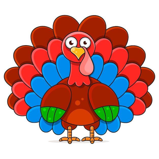 Ilustração de feliz dia de ação de graças turquia Vetor Premium