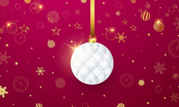 Ilustração de feliz natal com bugigangas brancas e flocos de neve dourados Vetor Premium