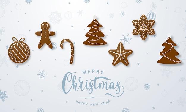 Ilustração de feliz natal e feliz ano novo com biscoitos de gengibre Vetor Premium