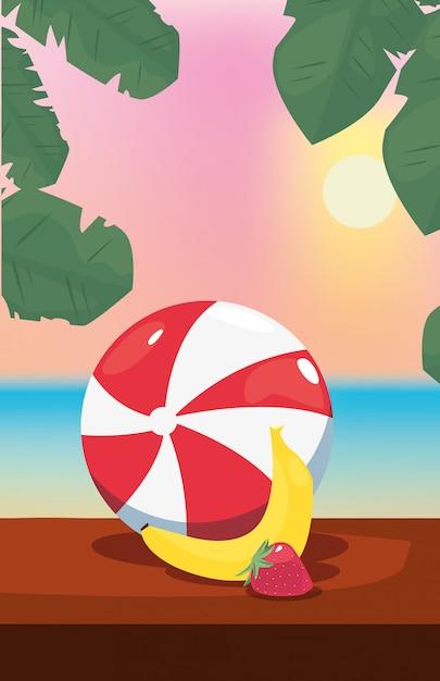 Ilustração de férias de verão com banana, bola inflável e morangos, vista para o mar Vetor Premium