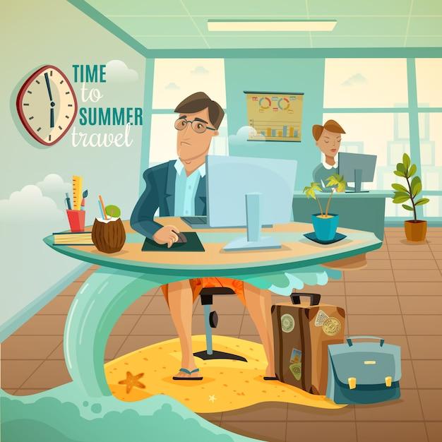 Ilustração de férias do escritório sonhos Vetor grátis