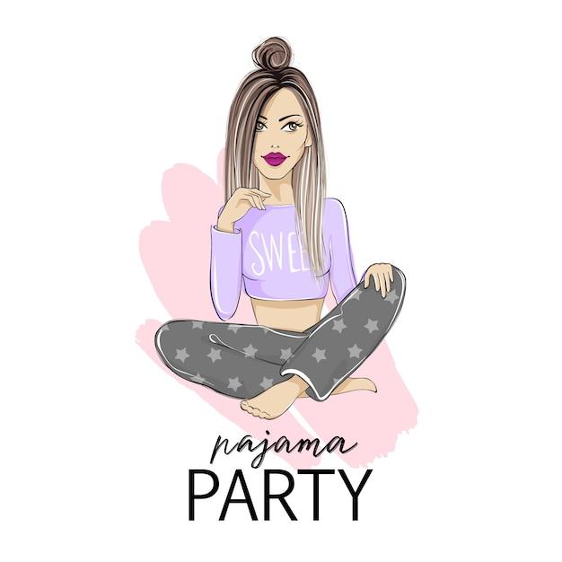Ilustração de festa do pijama com bela jovem loira. Vetor Premium