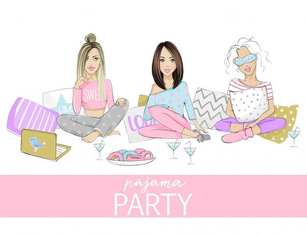 Ilustração de festa do pijama com belas moças, meninas, adolescentes. cartaz, capa ou banner para um evento divertido. Vetor Premium