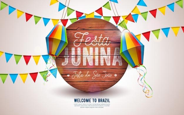 Ilustração de festa junina com bandeiras do partido e lanterna de papel Vetor Premium
