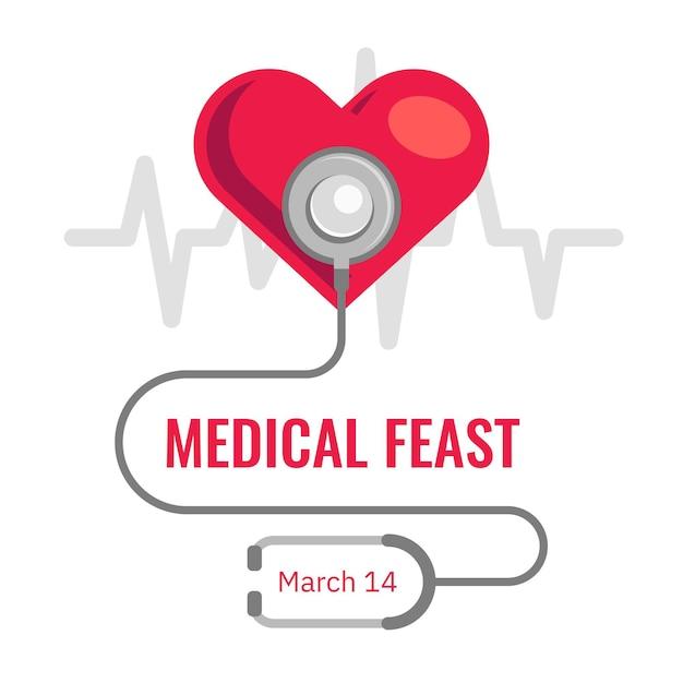 Ilustração de festa médica com coração e estetoscópio Vetor grátis