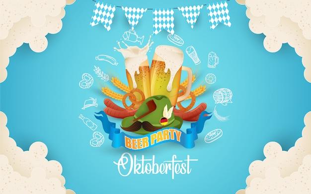 Ilustração de festa oktoberfest com cerveja fresca Vetor Premium