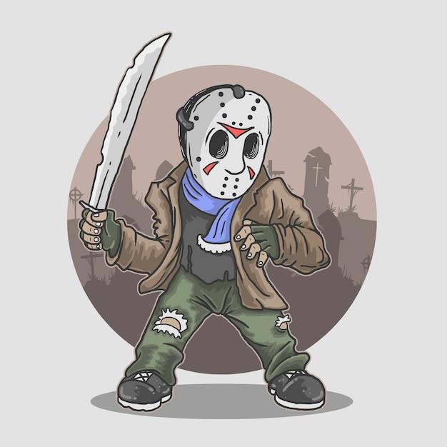 Ilustração de figura de mascote de halloween Vetor Premium